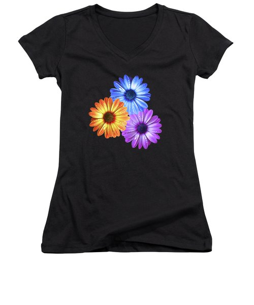 Colorful Daisies With Water Drops On Black Women's V-Neck (Athletic Fit)