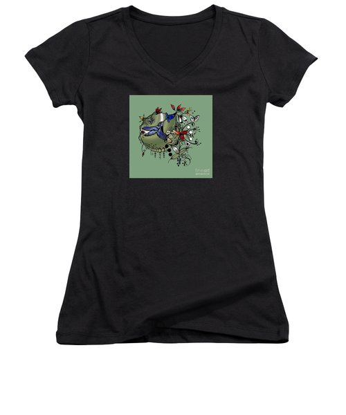 Colorful Hummingbird Ink And Pencil Drawing Women's V-Neck T-Shirt (Junior Cut) by Saribelle Rodriguez