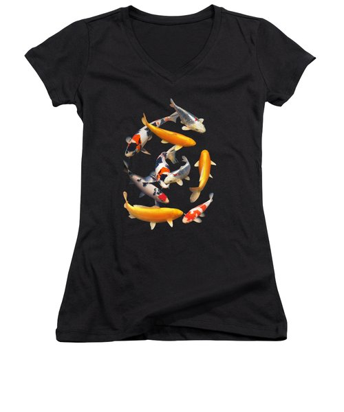 Colorful Japanese Koi Vertical Women's V-Neck (Athletic Fit)
