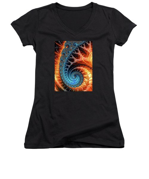 Colorful Luxe Fractal Spiral Turquoise Brown Orange Women's V-Neck (Athletic Fit)