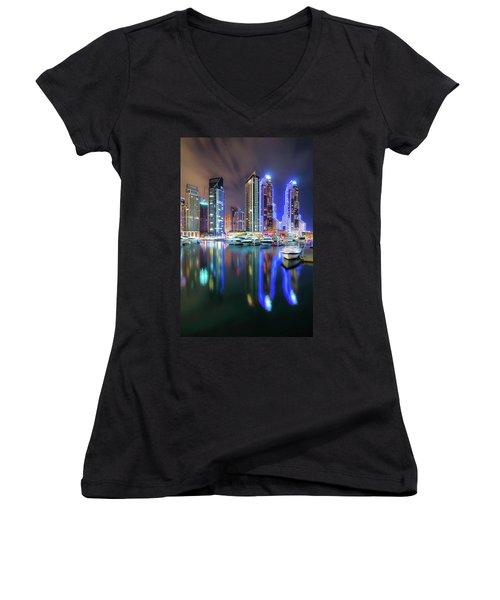 Colorful Night Dubai Marina Skyline, Dubai, United Arab Emirates Women's V-Neck T-Shirt