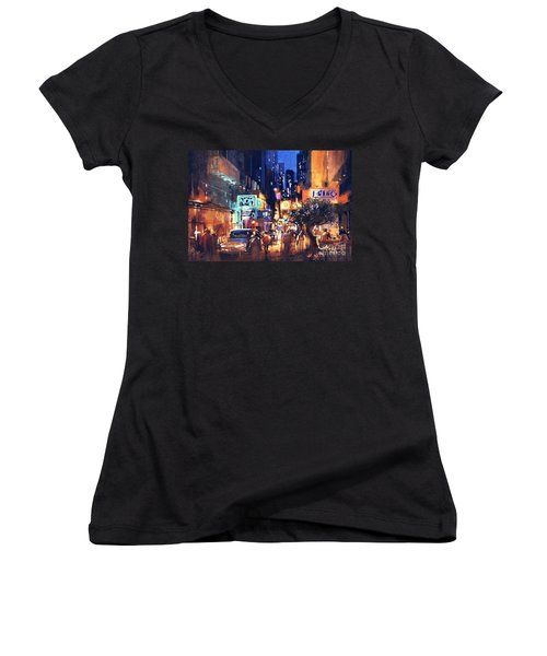 Colorful Night Street Women's V-Neck (Athletic Fit)