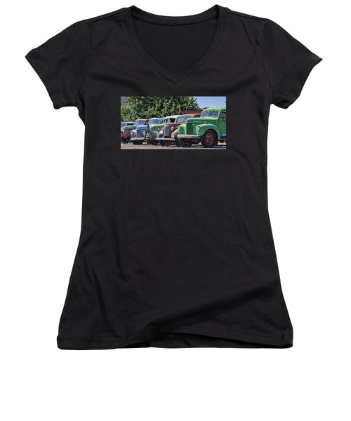 Colorful Old Rusty Cars Women's V-Neck