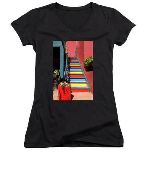 Colorful Stairs Women's V-Neck T-Shirt (Junior Cut) by James Eddy