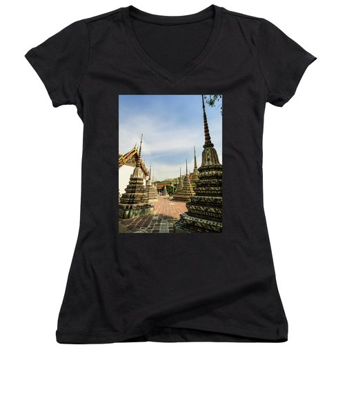 Colorful Stupas At Wat Pho Temple Women's V-Neck (Athletic Fit)