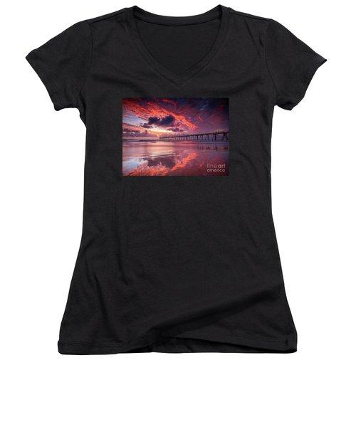 Colorful Sunrise Women's V-Neck T-Shirt (Junior Cut) by Rod Jellison