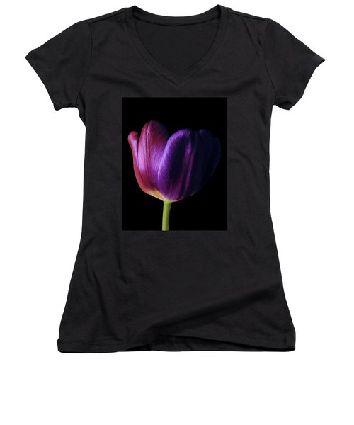 Colorful Tulip Macro Women's V-Neck (Athletic Fit)