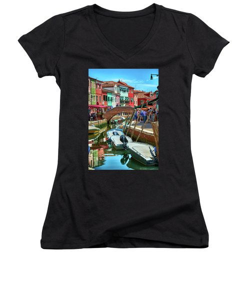 Colorful View In Burano Women's V-Neck