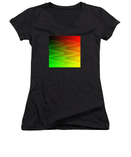 Women's V-Neck T-Shirt (Junior Cut) featuring the digital art Colorful Waves by Kathleen Sartoris