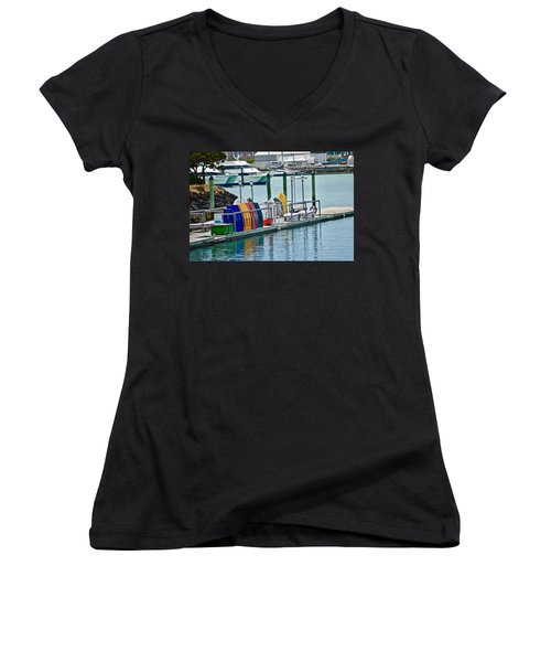 Colourful Dinghies Auckland Women's V-Neck (Athletic Fit)