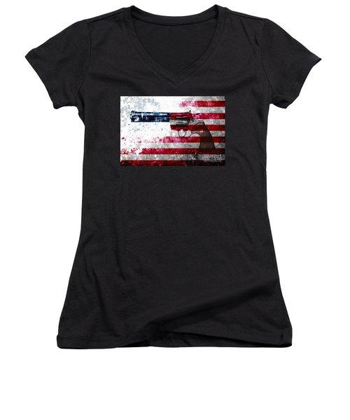 Colt Python 357 Mag On American Flag Women's V-Neck T-Shirt