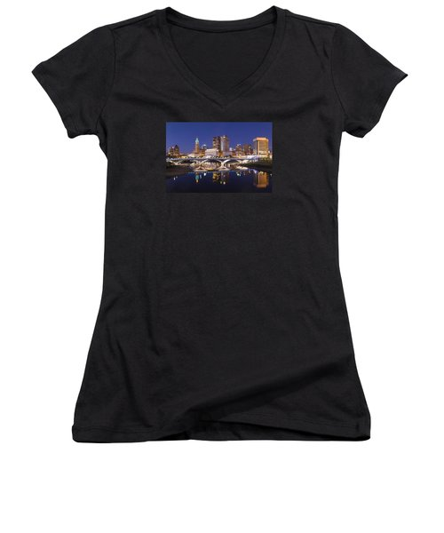 Columbus Skyline Reflection Women's V-Neck T-Shirt (Junior Cut) by Alan Raasch