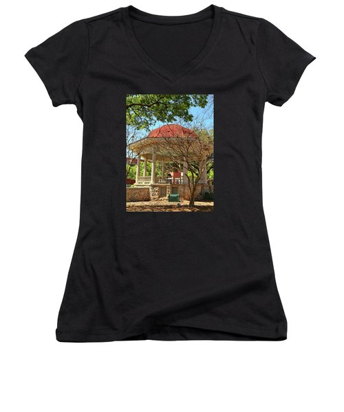 Comal County Gazebo In Main Plaza Women's V-Neck T-Shirt (Junior Cut) by Judy Vincent