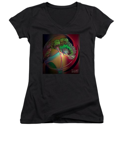 Women's V-Neck T-Shirt (Junior Cut) featuring the photograph Comely Cosmos by Irma BACKELANT GALLERIES