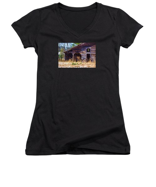 Coming Apart With Character Women's V-Neck T-Shirt (Junior Cut) by Roberta Byram