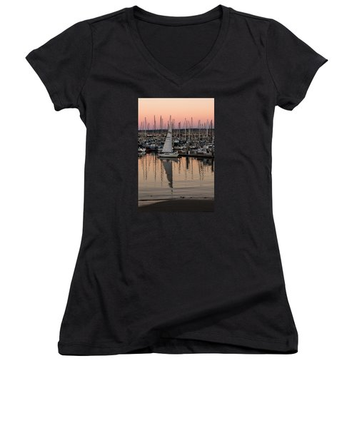 Women's V-Neck T-Shirt (Junior Cut) featuring the photograph Coming Into The Harbor by Lora Lee Chapman