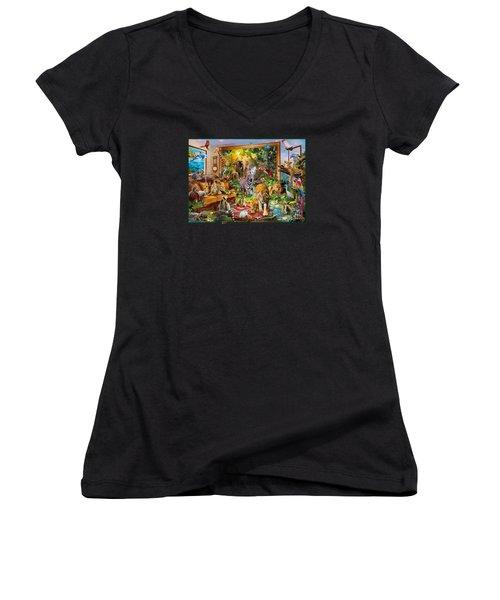 Coming To Room Women's V-Neck T-Shirt (Junior Cut) by Jan Patrik Krasny