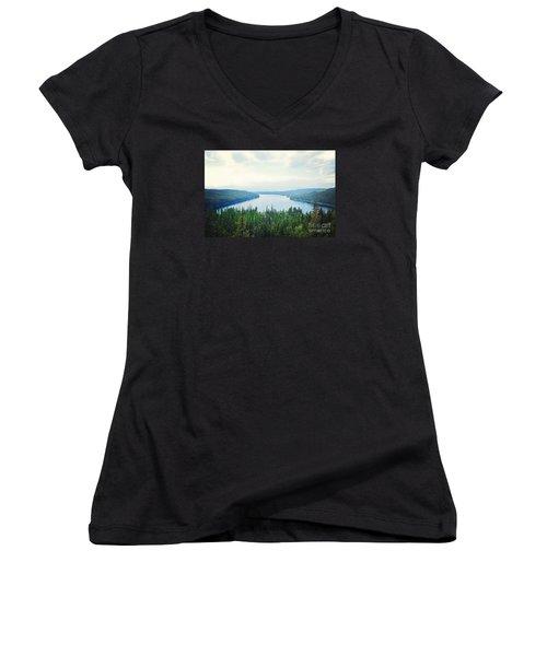 Women's V-Neck T-Shirt (Junior Cut) featuring the photograph Companionship- Holland Lake by Janie Johnson