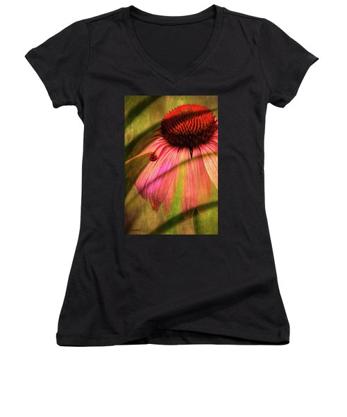 Cone Flower And The Ladybug Women's V-Neck T-Shirt
