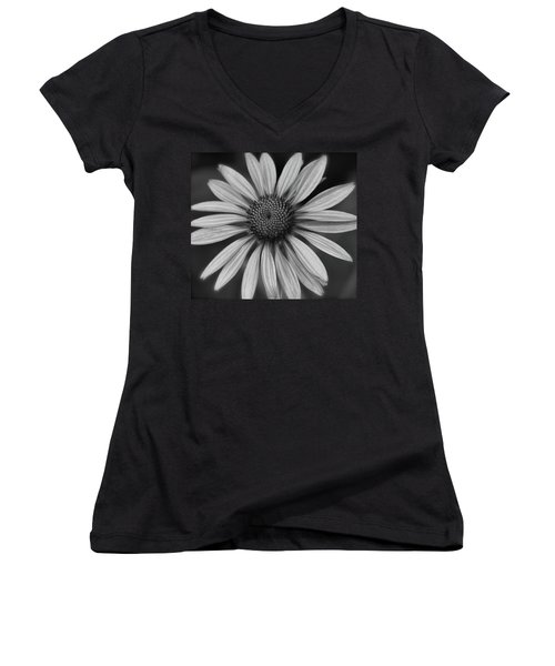 Coneflower In Black And White Women's V-Neck