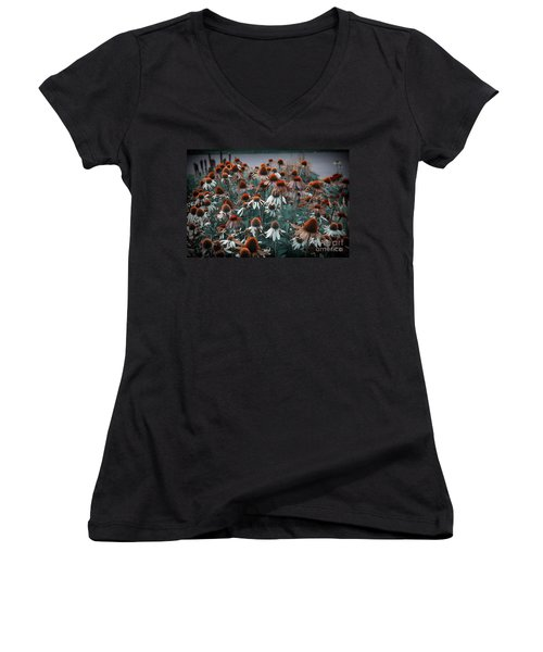 Coneflowers Bits Of Torquise Women's V-Neck (Athletic Fit)