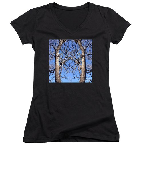 Women's V-Neck T-Shirt (Junior Cut) featuring the photograph Conjoined Tree Collage by Nora Boghossian
