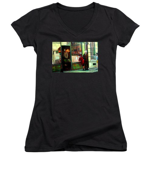 Women's V-Neck T-Shirt (Junior Cut) featuring the painting Contemplando El Menu-looking Up The Menu by Walter Casaravilla
