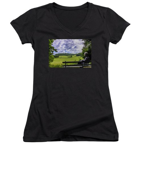 Contemplating The Beautiful Scenery Women's V-Neck