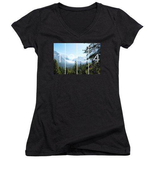 Controlled Burn Of Yosemite Panoramic Map Women's V-Neck T-Shirt (Junior Cut) by Michael Bessler