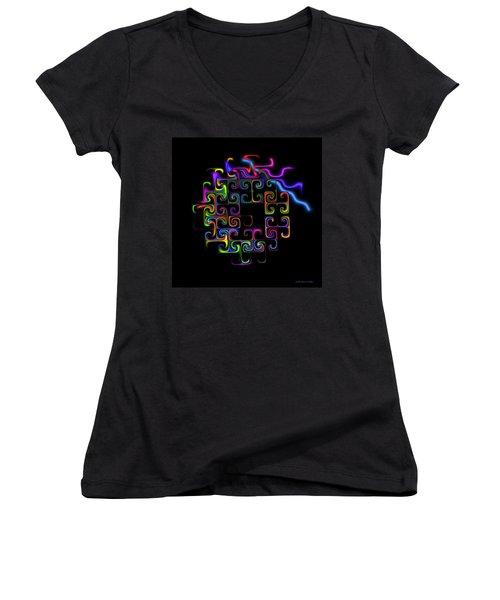 Women's V-Neck T-Shirt (Junior Cut) featuring the digital art Conundrum by Judi Suni Hall