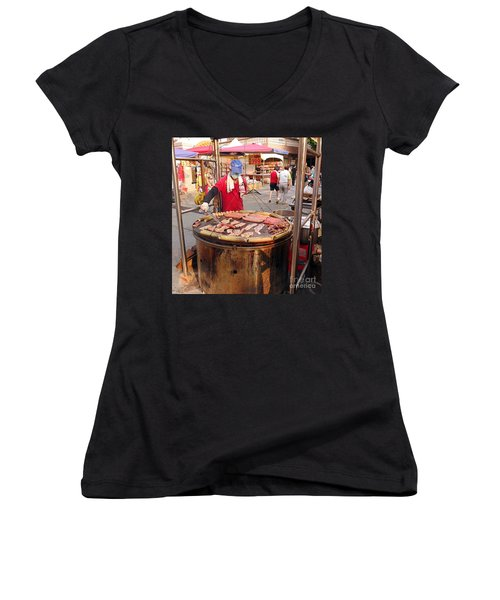 Women's V-Neck T-Shirt (Junior Cut) featuring the photograph Cooking Meat And Eggs On A Huge Grill by Yali Shi