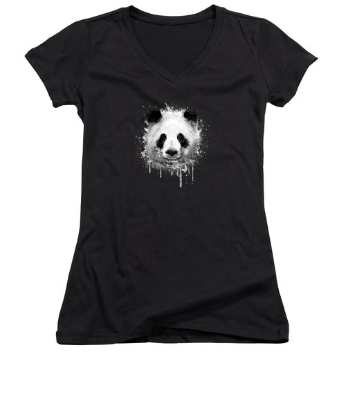 Cool Abstract Graffiti Watercolor Panda Portrait In Black And White  Women's V-Neck T-Shirt