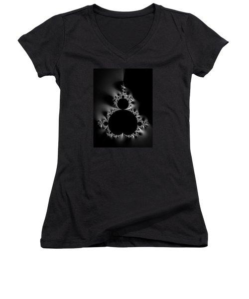 Cool Black And White Mandelbrot Set Women's V-Neck T-Shirt (Junior Cut) by Matthias Hauser