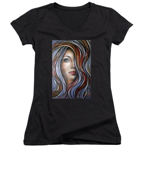 Cool Blue Smile 070709 Women's V-Neck