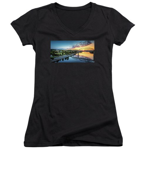 Coolidge Park Sunrise Panoramic Women's V-Neck T-Shirt (Junior Cut) by Steven Llorca