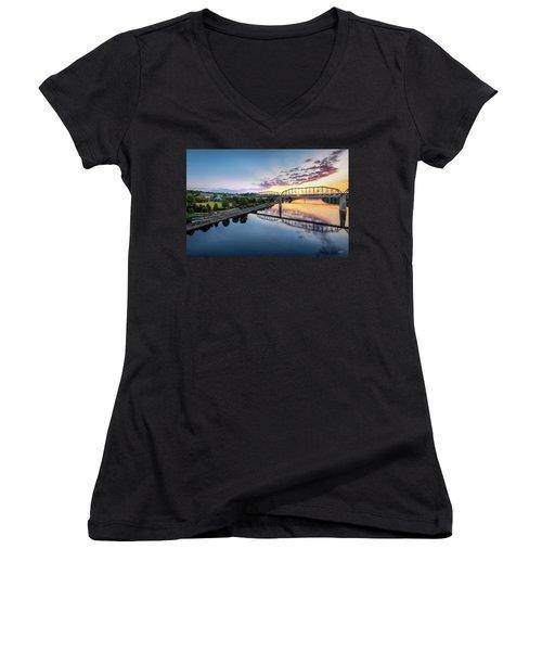 Coolidge Park Sunrise Women's V-Neck T-Shirt (Junior Cut) by Steven Llorca