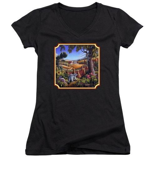 Coon Gap Holler Country Landscape - Square Format Women's V-Neck T-Shirt (Junior Cut) by Walt Curlee
