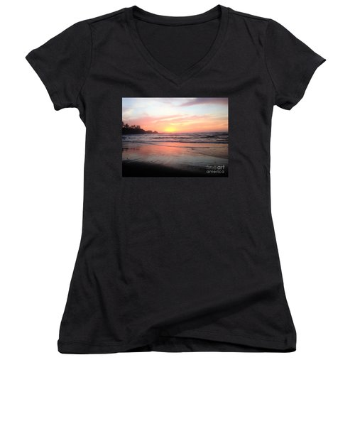 Women's V-Neck T-Shirt (Junior Cut) featuring the painting Coos Bay by Linda Shackelford