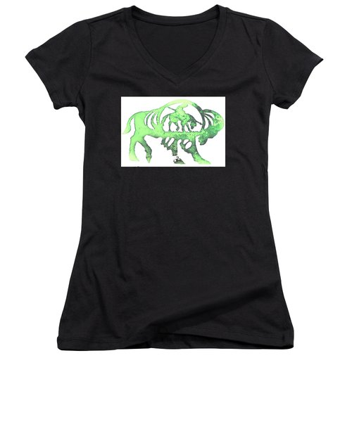 Copper Buffalo Women's V-Neck T-Shirt (Junior Cut) by Larry Campbell