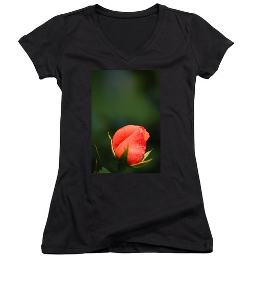 Women's V-Neck T-Shirt (Junior Cut) featuring the photograph Coral Rose On Green by Debbie Karnes