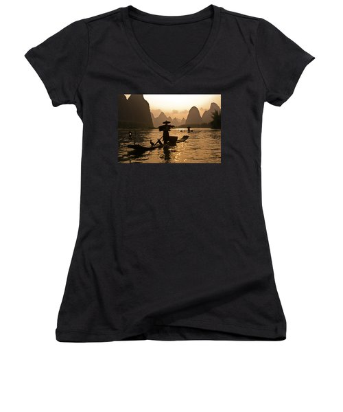 Cormorant Fisherman At Sunset Women's V-Neck (Athletic Fit)