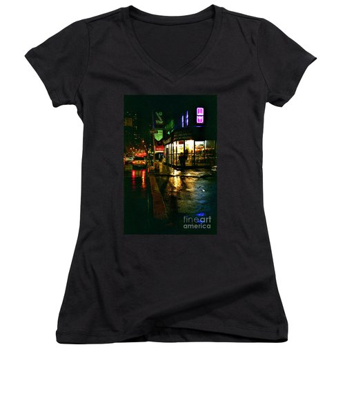 Women's V-Neck T-Shirt (Junior Cut) featuring the photograph Corner In The Rain by Miriam Danar