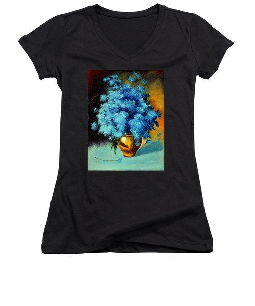 Cornflowers Women's V-Neck T-Shirt (Junior Cut) by Henryk Gorecki