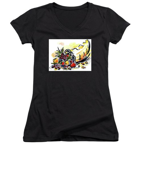Women's V-Neck T-Shirt (Junior Cut) featuring the painting Cornucopia by Terry Banderas