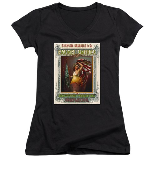 Cosmetics Ad 1866 Women's V-Neck T-Shirt (Junior Cut) by Padre Art