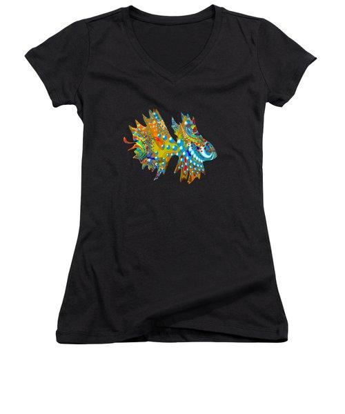 Cosmic Guppy Women's V-Neck T-Shirt (Junior Cut) by Deborah Runham