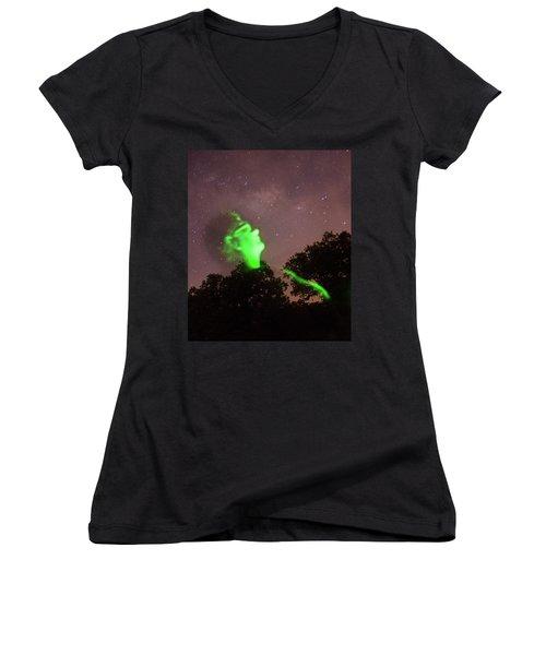 Cosmic Selfie In Green Women's V-Neck T-Shirt