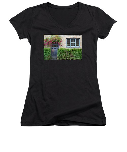 Women's V-Neck T-Shirt (Junior Cut) featuring the photograph Cotswolds Cottage Home by Brian Jannsen