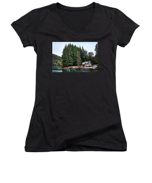 Little Cottage And Pines In The Argentine Patagonia Women's V-Neck