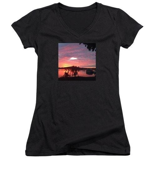 Cotton Candy Sunset Women's V-Neck T-Shirt